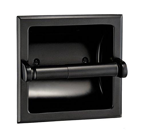 Designers Impressions Black Recessed Toilet/Tissue Paper Holder
