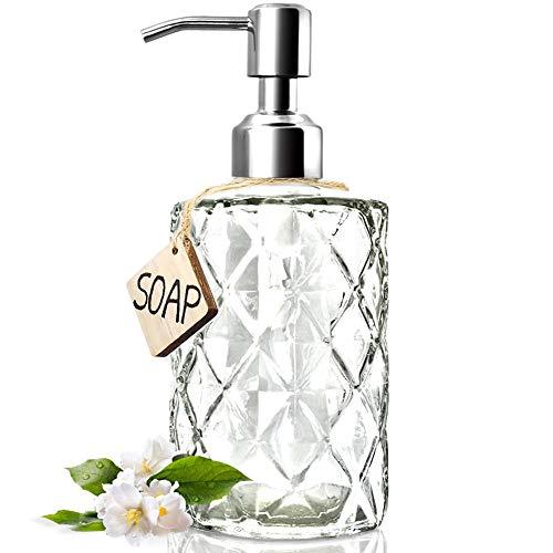 JASAI Diamond Design 12 Oz Glass Soap Dispenser