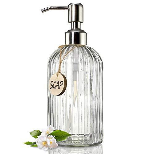 JASAI 18 Oz Clear Glass Soap Dispenser