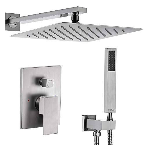 Esnbia Brushed Nickel Shower System, Shower Faucet Set
